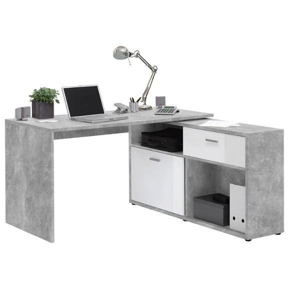 eckschreibtisch in wei grau online kaufen m max. Black Bedroom Furniture Sets. Home Design Ideas