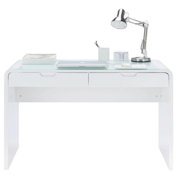 Schreibtisch wei hochglanz glas for Schreibtisch glas
