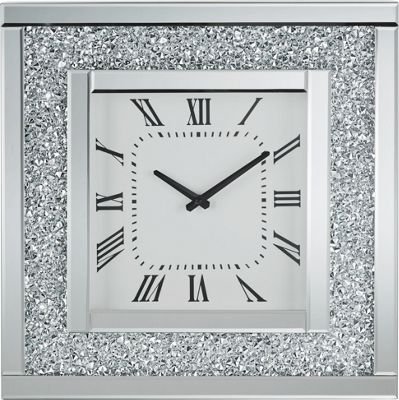 Wanduhr Diamant, Ca. 51x51x12cm   Silberfarben, MODERN, Glas/Holz (51