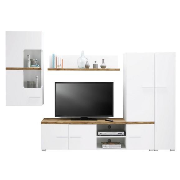 wohnwand in wei eichefarben online kaufen m max. Black Bedroom Furniture Sets. Home Design Ideas