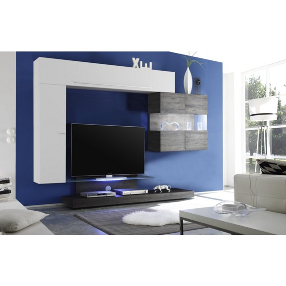 wohnwand in wei hochglanz eiche online kaufen m max. Black Bedroom Furniture Sets. Home Design Ideas