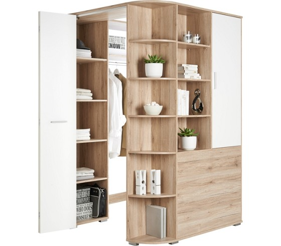 eckschrank in wei mit faltt r kleiderschr nke. Black Bedroom Furniture Sets. Home Design Ideas