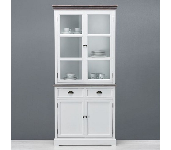 vitrine cookie in braun wei im landhausstil vitrinen k chen esszimmer produkte. Black Bedroom Furniture Sets. Home Design Ideas