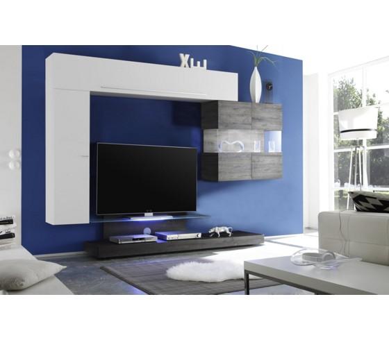 wohnwand in wei hochglanz eiche wohnw nde wohnw nde. Black Bedroom Furniture Sets. Home Design Ideas