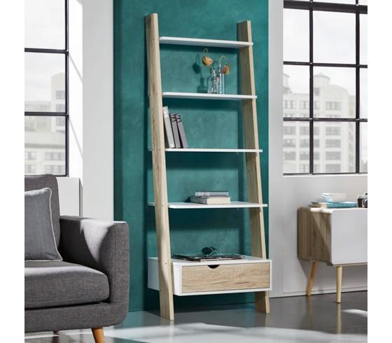 leiterregal claire in wei natur sideboards kommoden regale wohnzimmer produkte. Black Bedroom Furniture Sets. Home Design Ideas