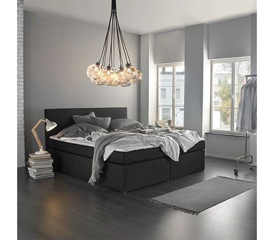 boxspringbett lucy in anthrazit ca 180x200cm. Black Bedroom Furniture Sets. Home Design Ideas