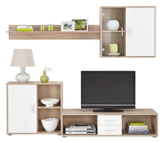 wohnwand in wei eiche wohnw nde wohnw nde tv m bel. Black Bedroom Furniture Sets. Home Design Ideas