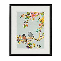 Aquarellbild Birdy II 46x56 cm - Multicolor/Schwarz, MODERN, Glas/Holz (46/56/3cm) - MÖMAX modern living
