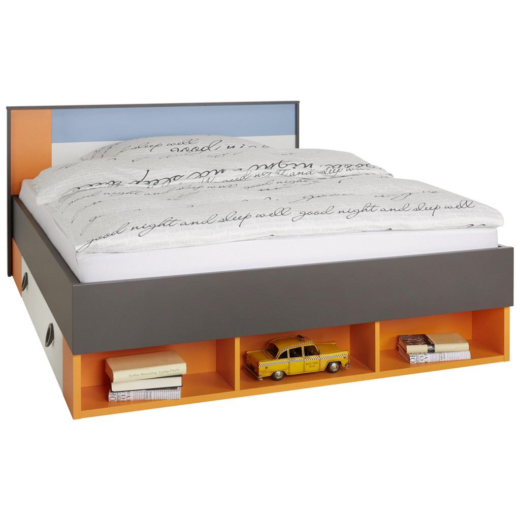 Bett in Bunt, ca. 140x200cm