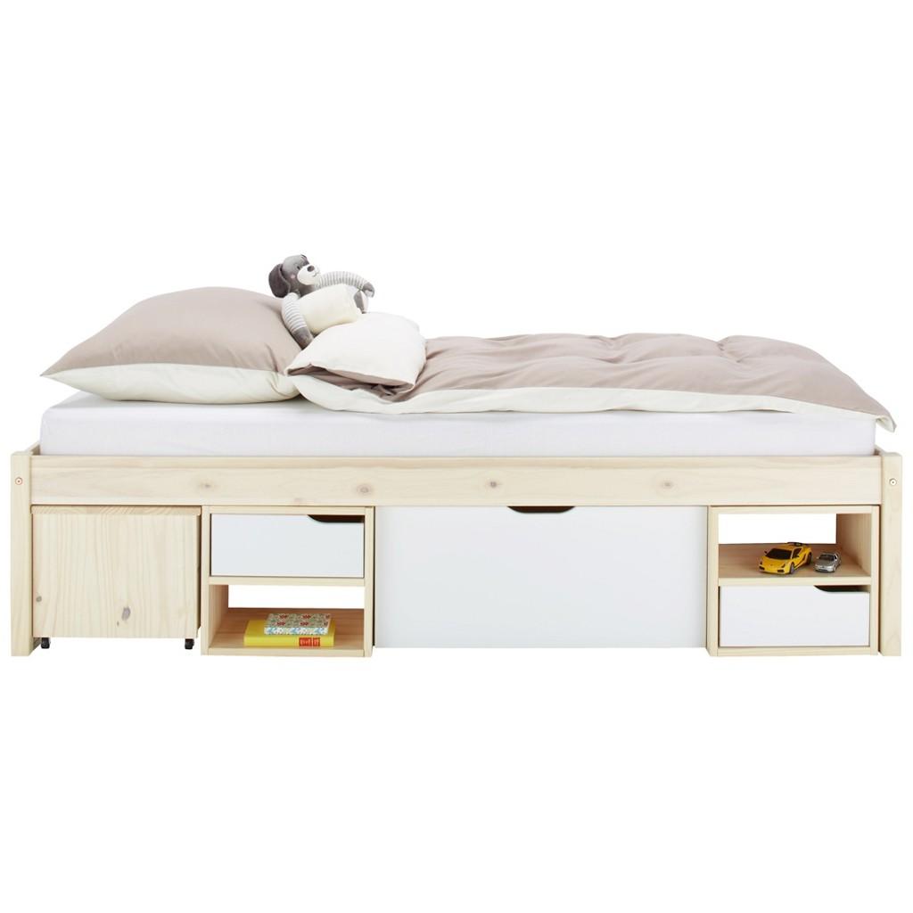 Bett in Natur/Weiß, ca. 90x200cm