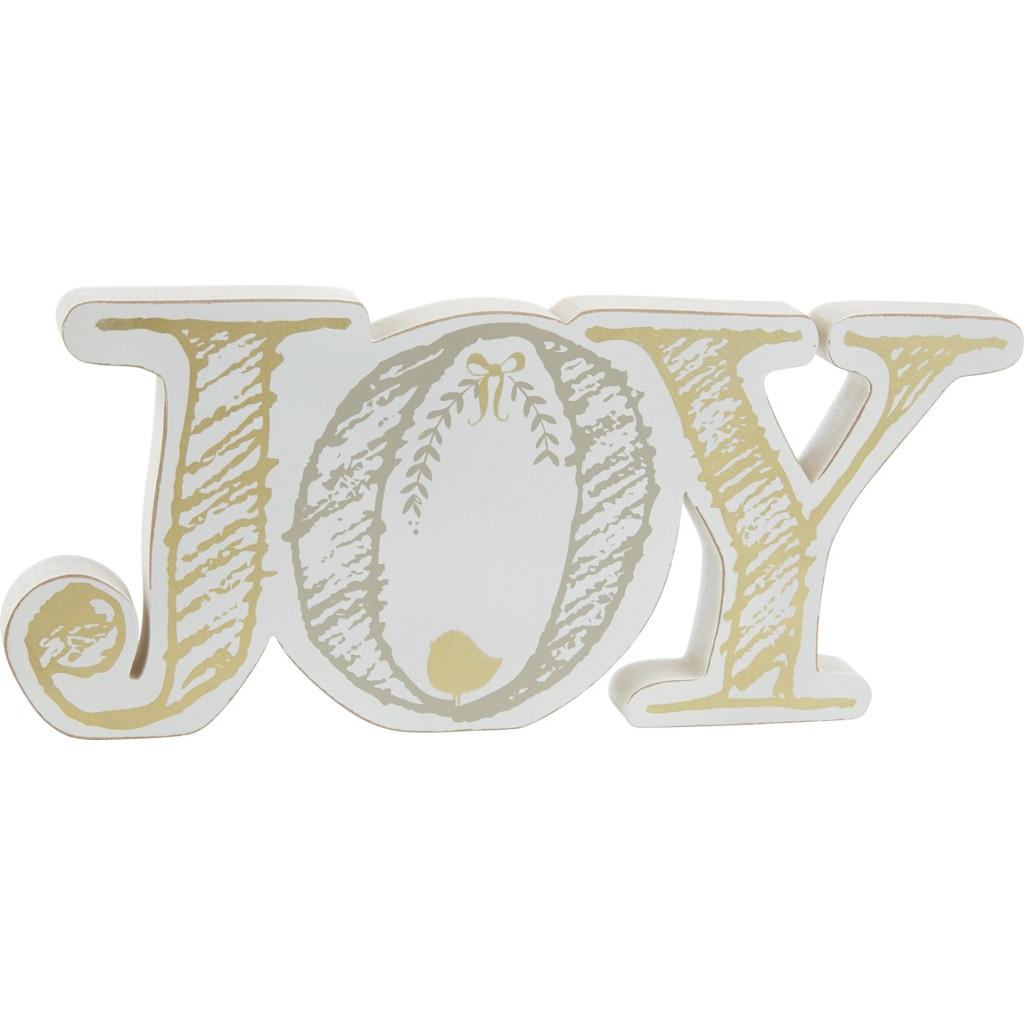 Dekobuchstaben Joy in Weiß/Gold