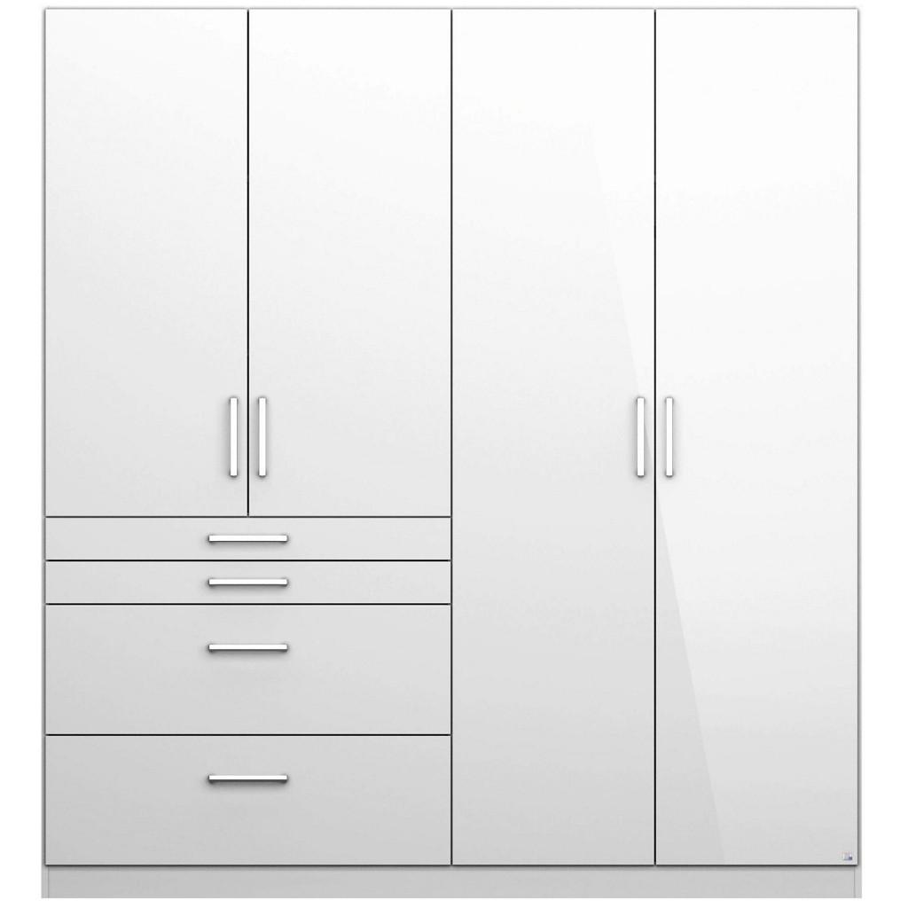 Drehtürenschrank in Weiß Hochglanz mit 4 Türen