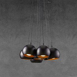 Hängeleuchte Emanuella - Goldfarben/Schwarz, MODERN, Metall (15cm) - MODERN LIVING