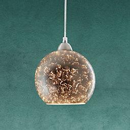 Hängeleuchte Emelle - Silberfarben, MODERN, Glas/Kunststoff (40cm) - MODERN LIVING