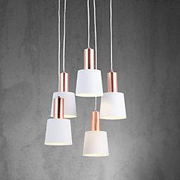 Hängeleuchte Martina - Weiß/Kupferfarben, MODERN, Metall (35/120cm) - MODERN LIVING