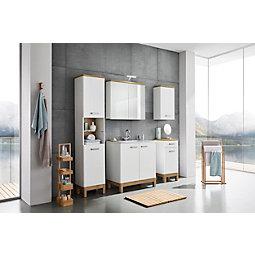 Hochschrank In Weiß/Eichefarben   Chromfarben/Eichefarben, MODERN,  Holzwerkstoff/Metall (