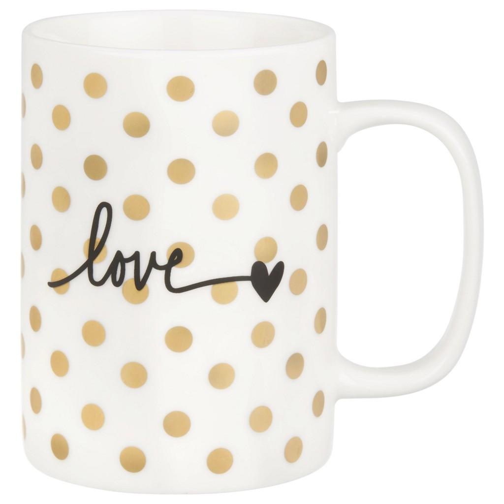 Kaffeebecher Gloria in Weiß/Gold
