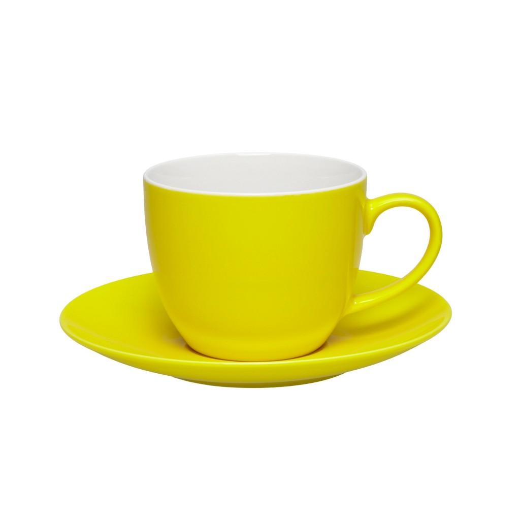 Kaffeetasse mit Untertasse Sandy in Gelb aus Keramik