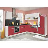 Kotna Kuhinja Flash - rdeča/bela, Moderno, leseni material (275/245cm)