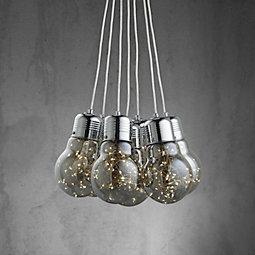 LED-Hängeleuchte Inna - Chromfarben/Grau, MODERN, Glas/Metall (45/150cm) - MÖMAX modern living