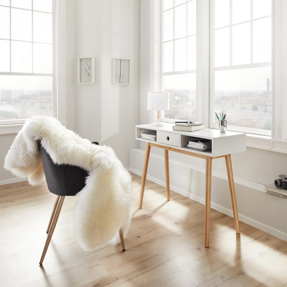 Schreibtisch aus holz in wei emilie online kaufen m max for Schreibtisch modern holz