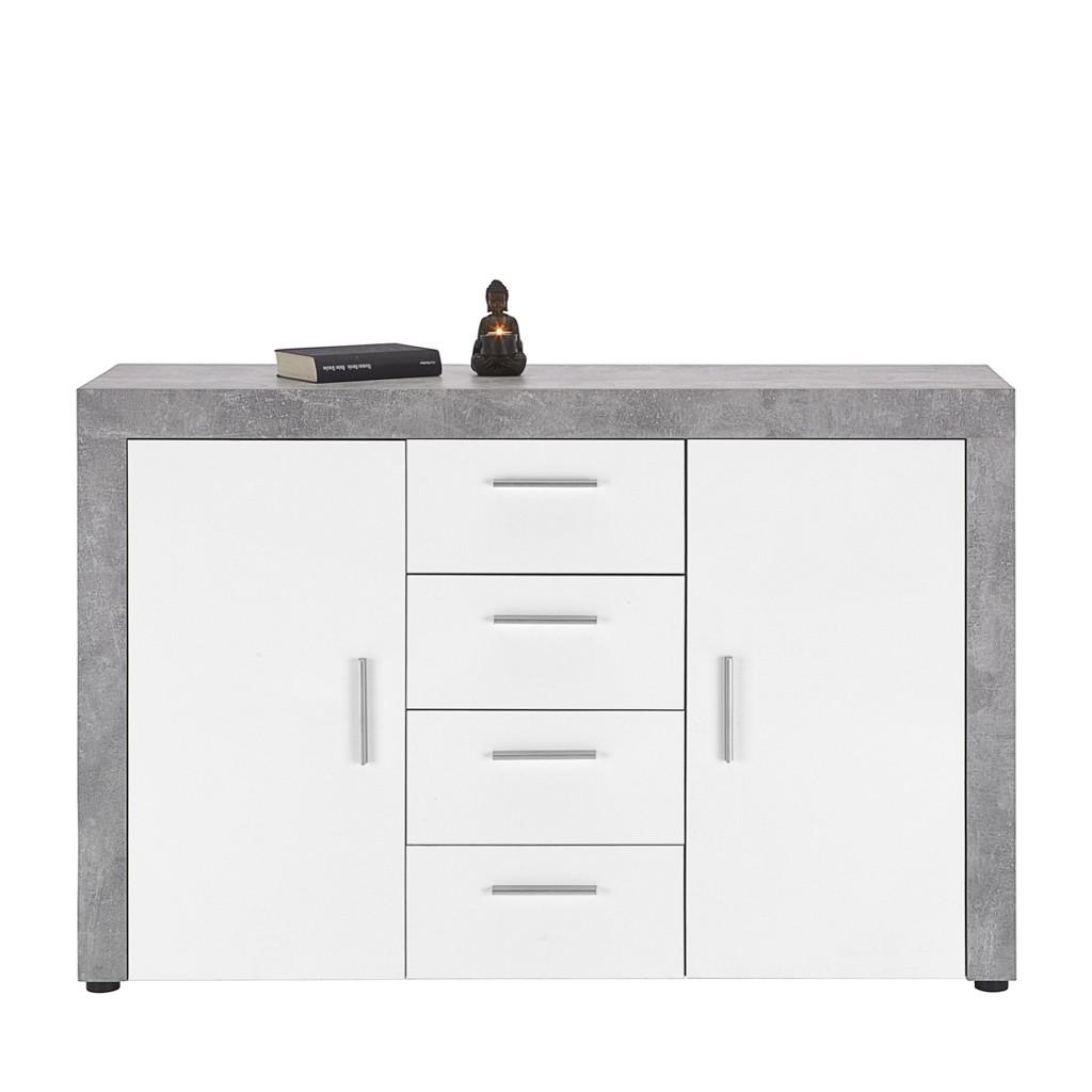 Sideboard in Weiß/Betonoptik