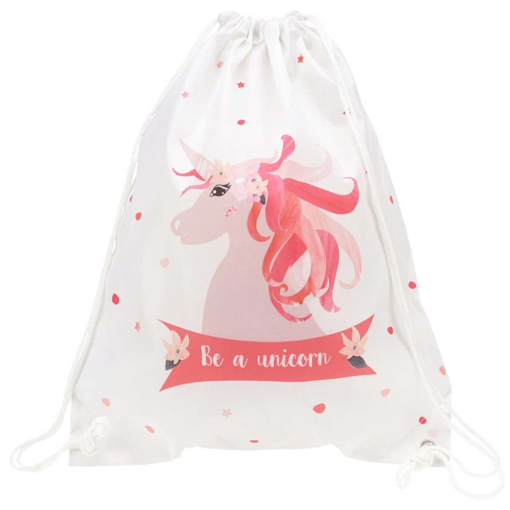 Sportbeutel Unicorn in Rosa/Weiß/pink
