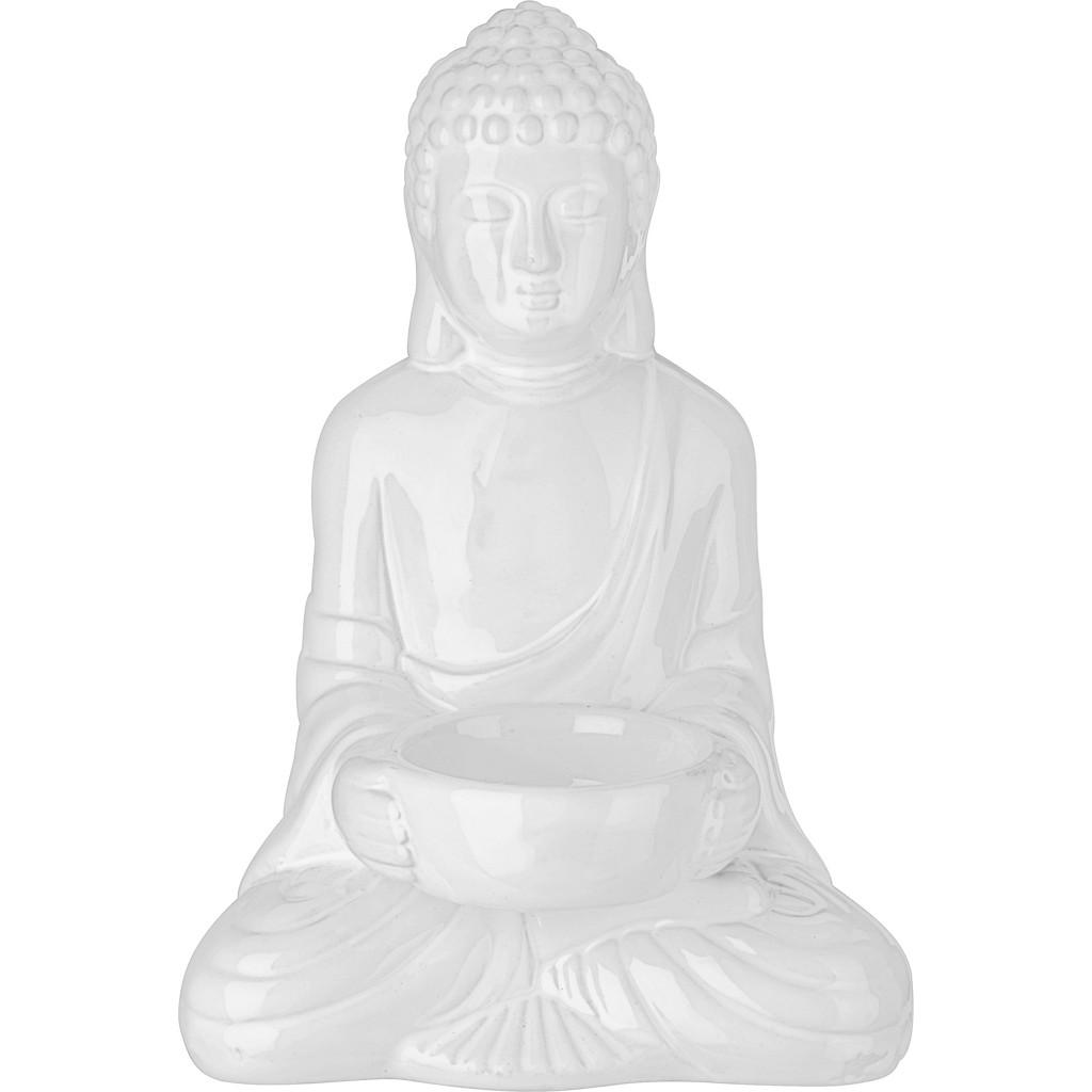 Teelichthalter Buddha aus Keramik in Weiß