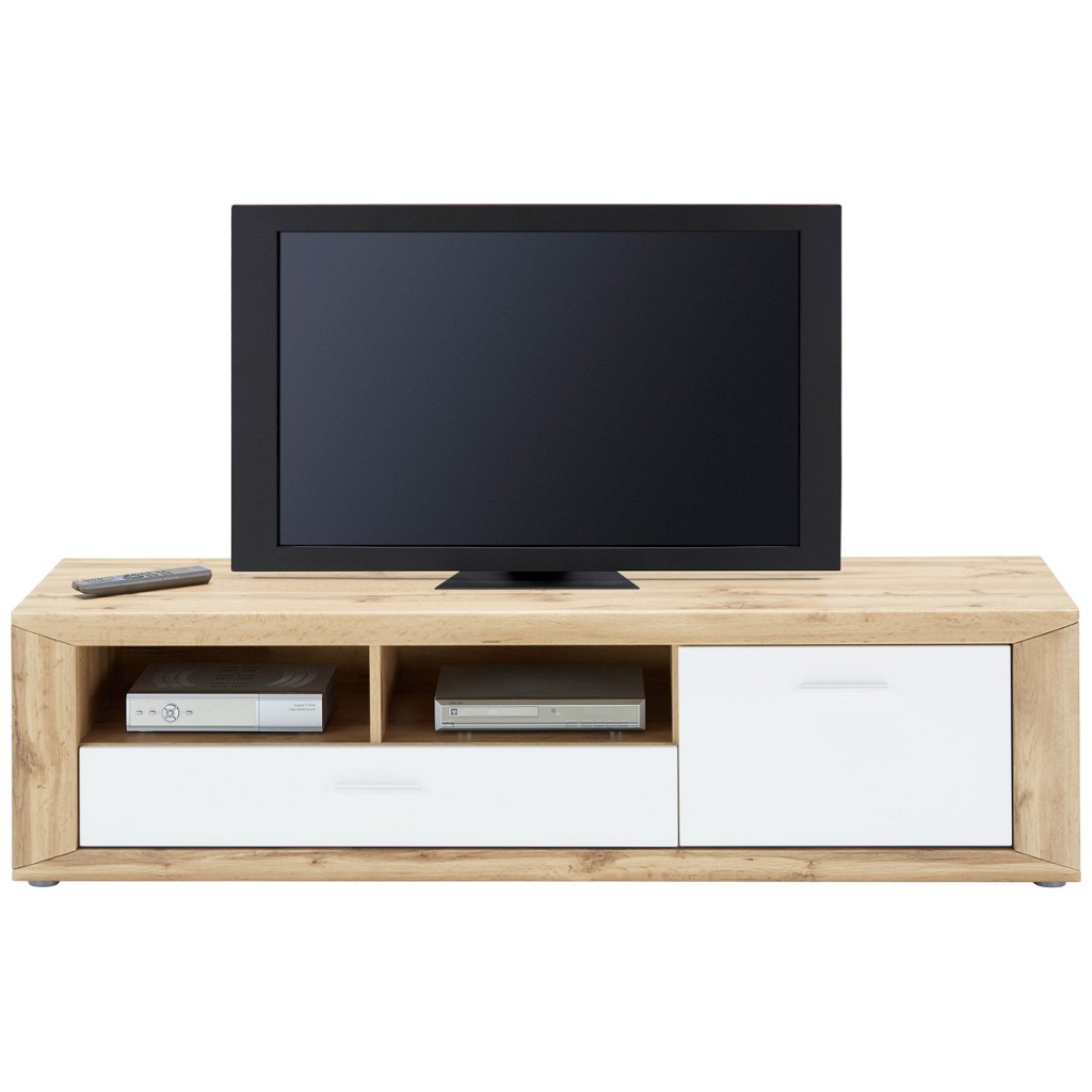 TV-Element in Weiß/Eichefarben