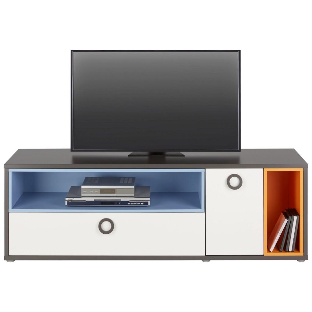 TV-Element in Weiß/Grau/Blau/Orange
