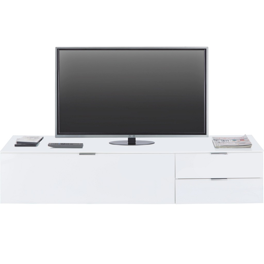 TV-Element in Weiß mit einer Klappe