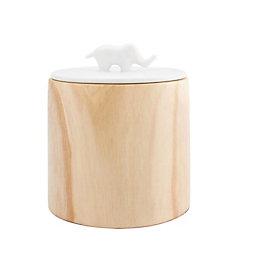 Vorratsdose Jumbo - Weiß/Naturfarben, LIFESTYLE, Keramik/Holz (16,5/19cm) - premium living