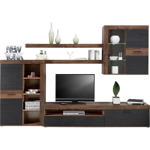Wohnwand in schwarz schlamm online kaufen m max - Schwarze wohnwand ...