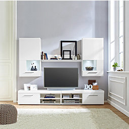 Wohnwand weiß grau hochglanz  Wohnwand in Weiß Hochglanz online kaufen ➤ mömax