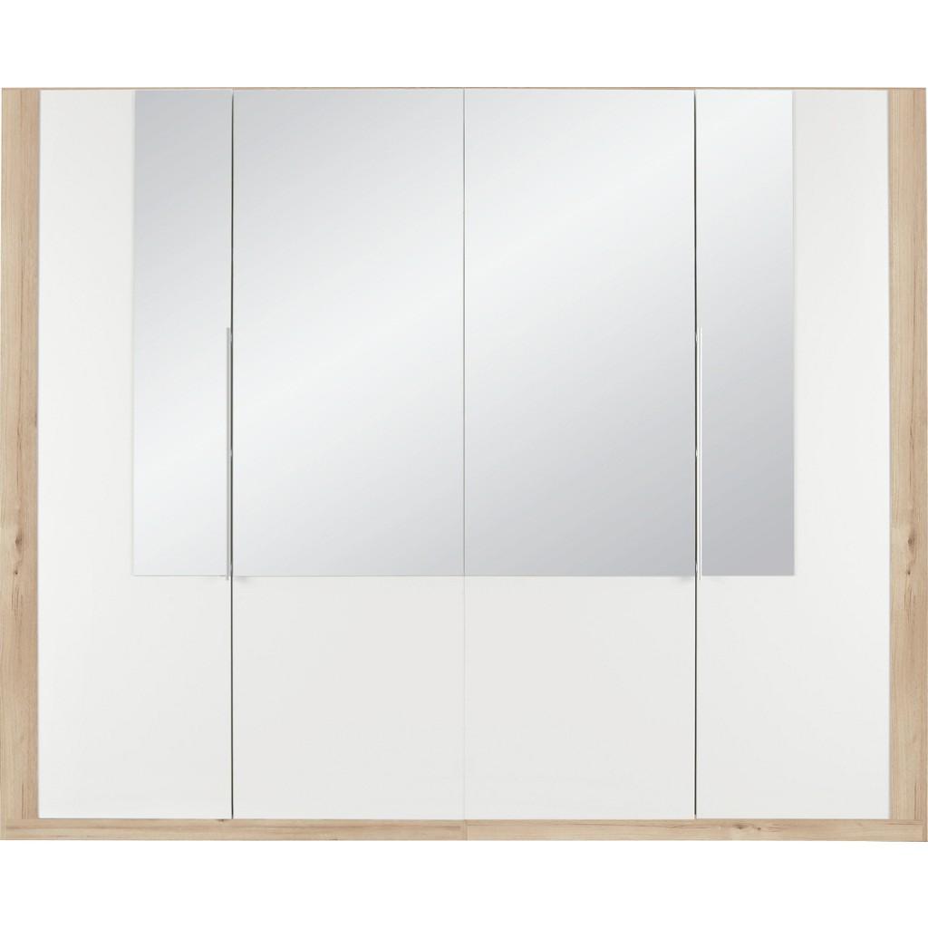Drehtürenschrank in Weiß mit Spiegel