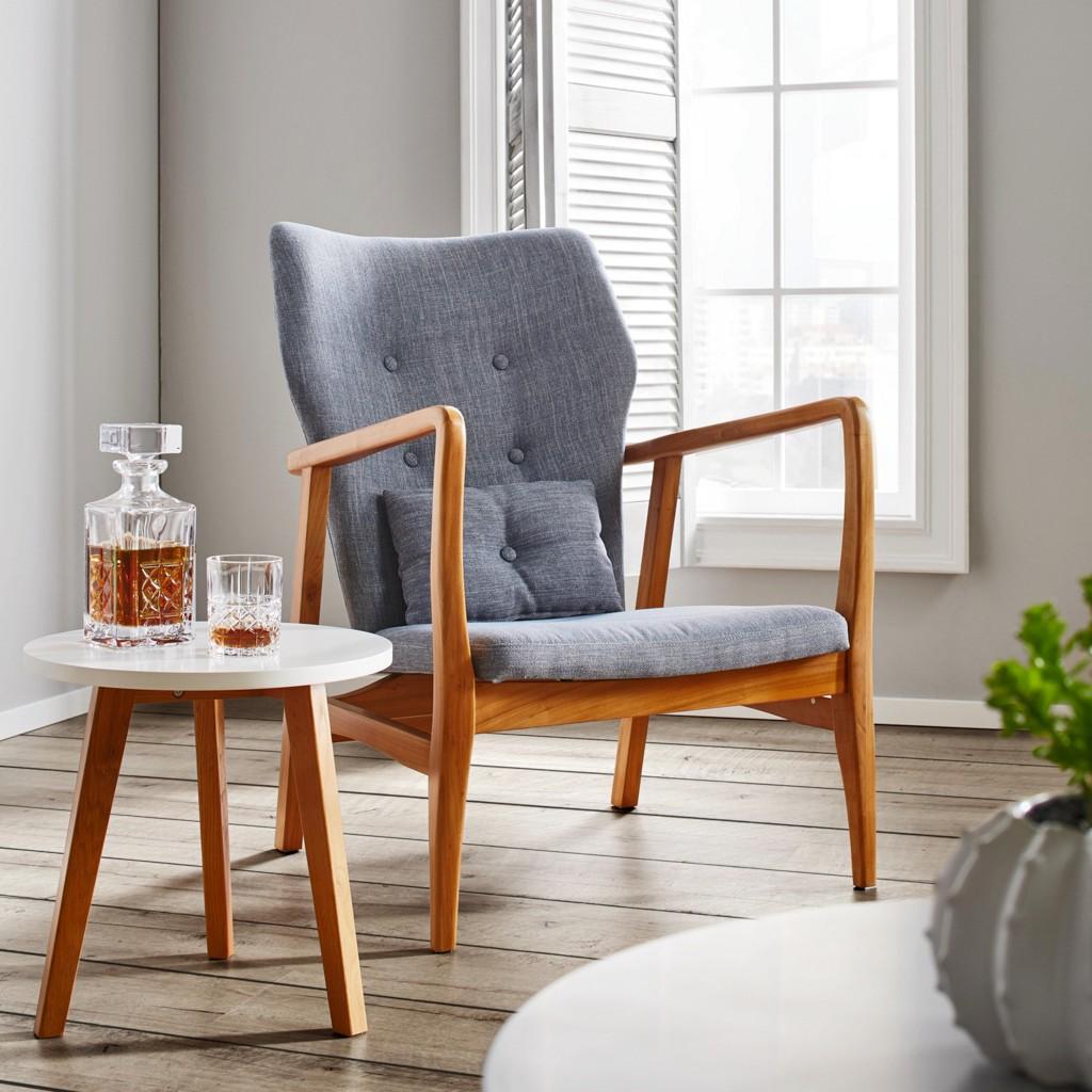 Sessel aus Holz in Grau Matt