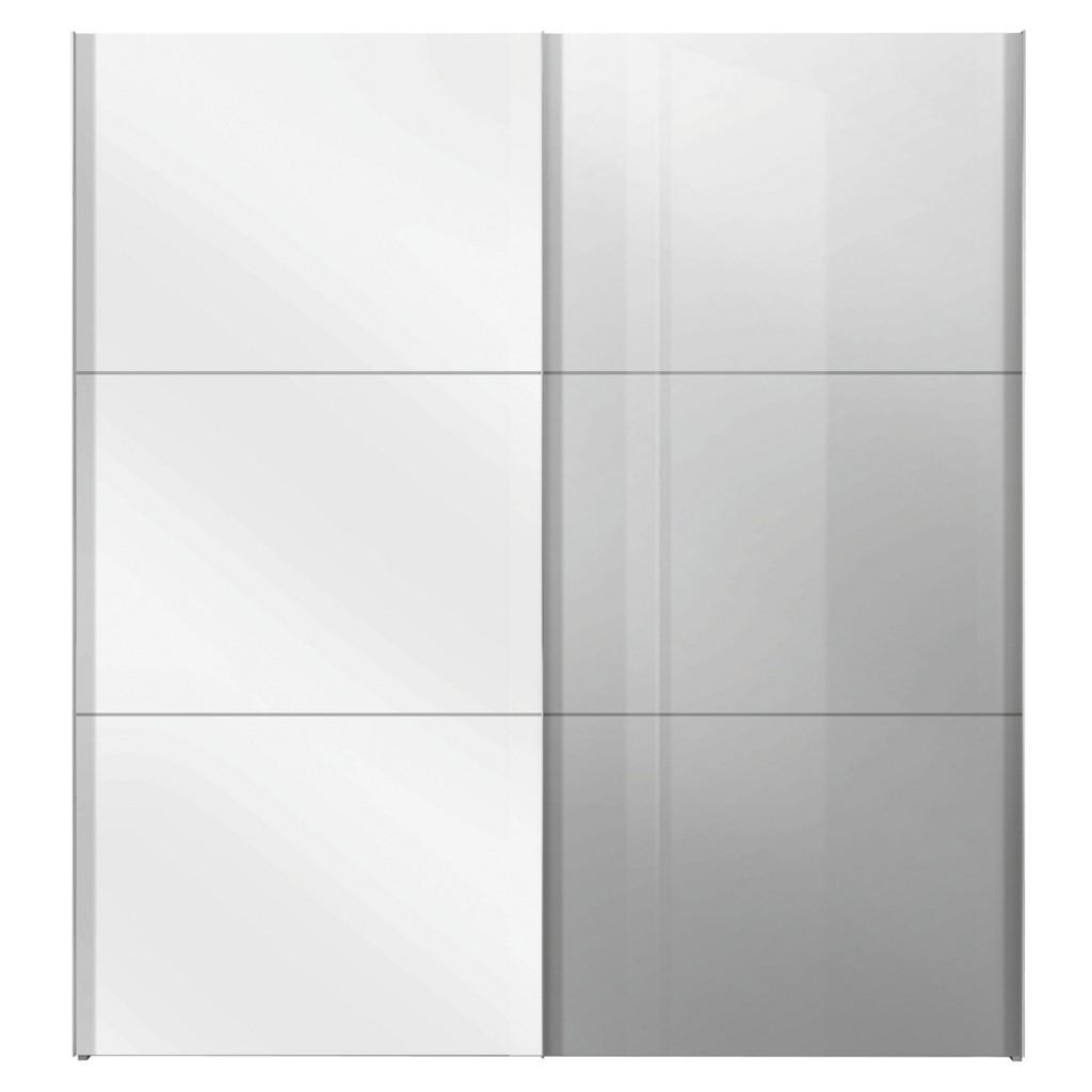 Schwebetürenschrank in Weiß mit Spiegel