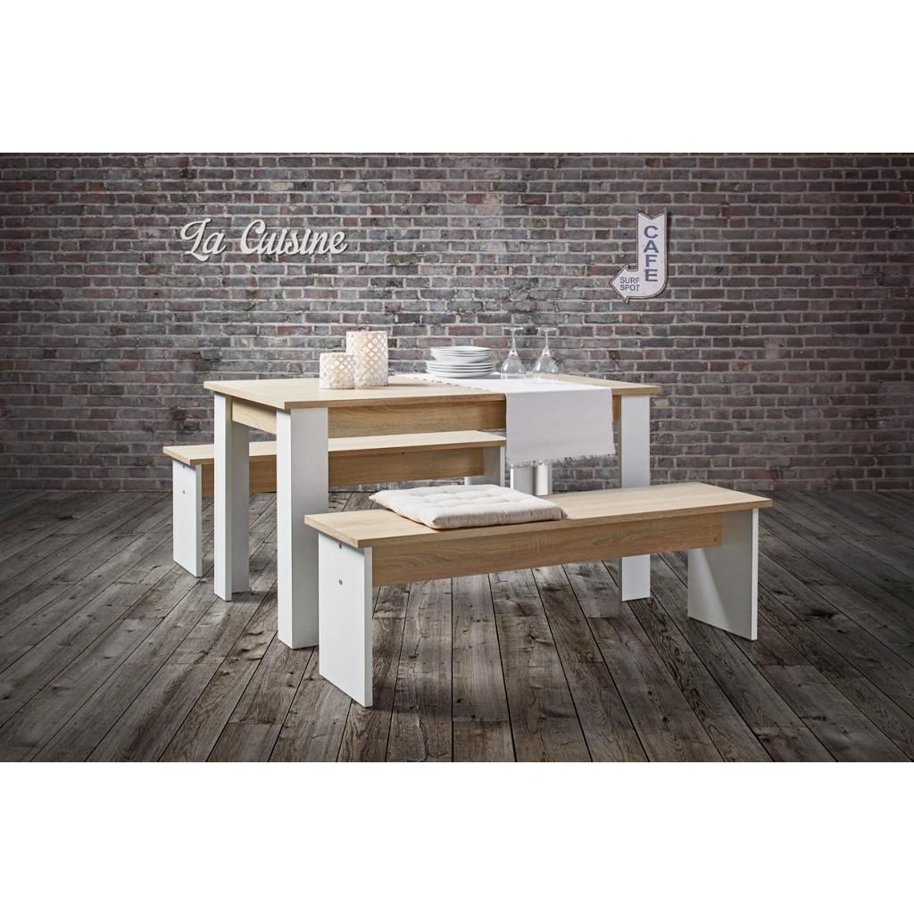 Tischgruppe in Eiche/Weiß