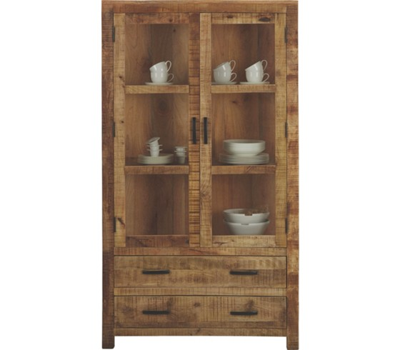 vitrine in braun aus mangoholz vitrinen k chen. Black Bedroom Furniture Sets. Home Design Ideas