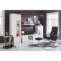 wohnwand in wei silberfarbenwei modern holzwerkstoffmetall 300 - Wohnwand Modern Klein