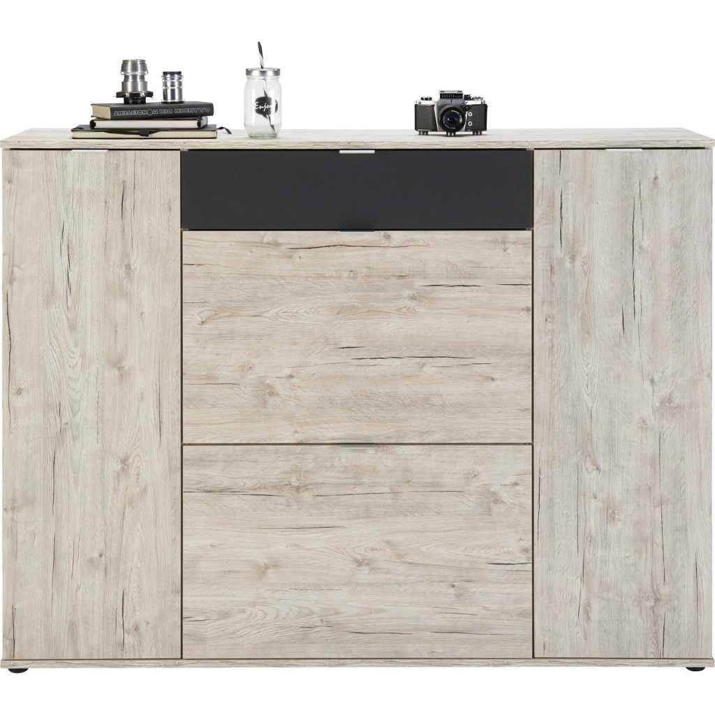 Highboard in Sandeiche/anthrazit