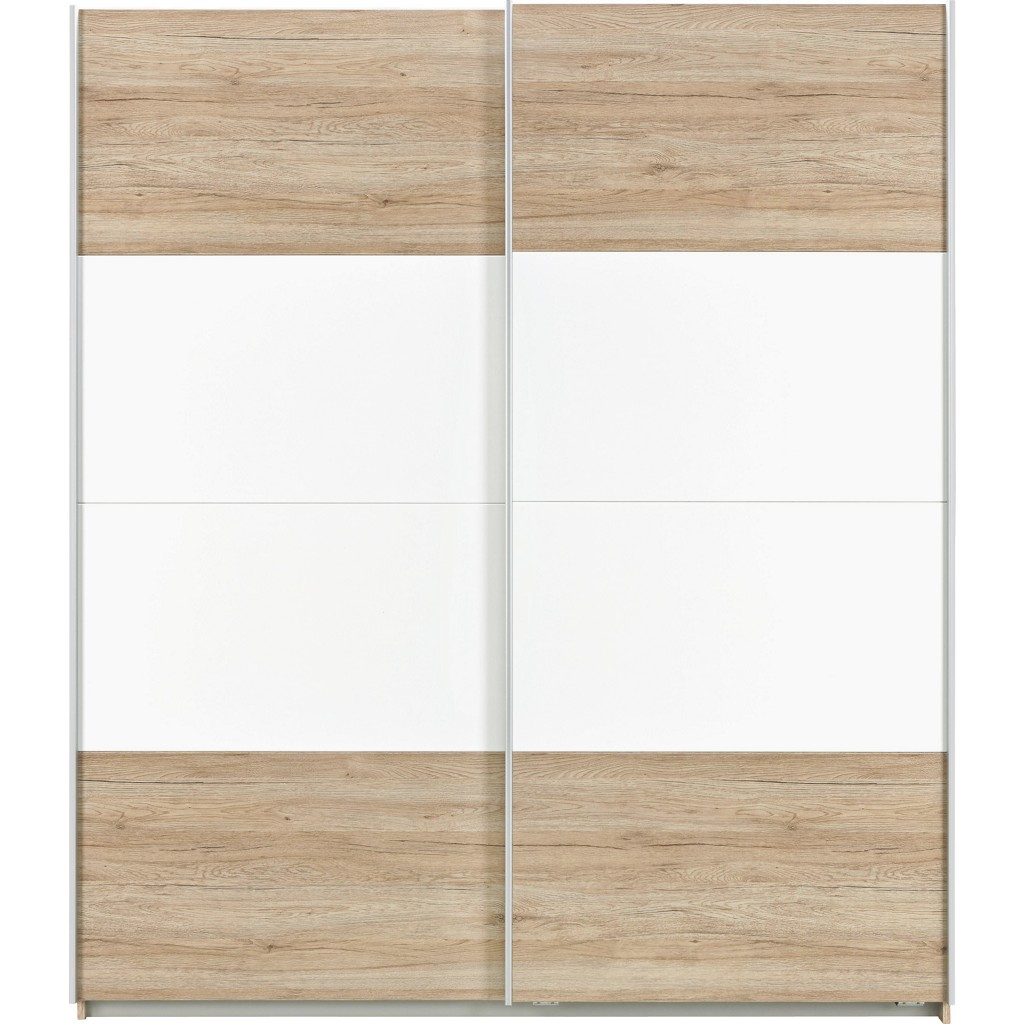 Schwebetürenschrank in Braun/Weiß
