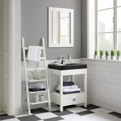 Badezimmer Newport In Weiß Inkl. Regal   Schwarz/Weiß, Glas/Holz