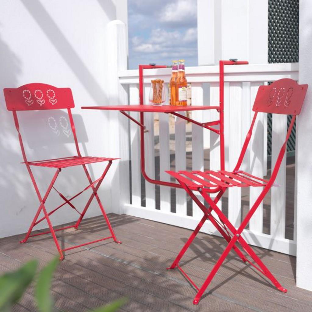 Balkonset Arianna 3-teilig in Rot