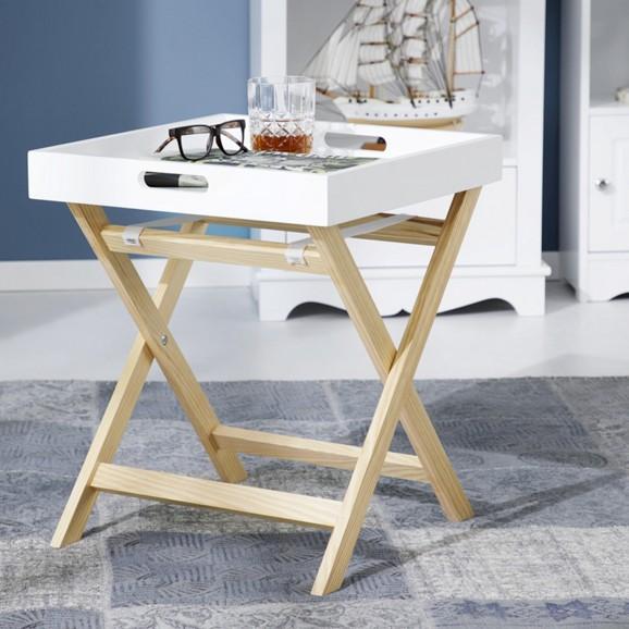 beistelltisch aus holz in wei niels online kaufen m max. Black Bedroom Furniture Sets. Home Design Ideas