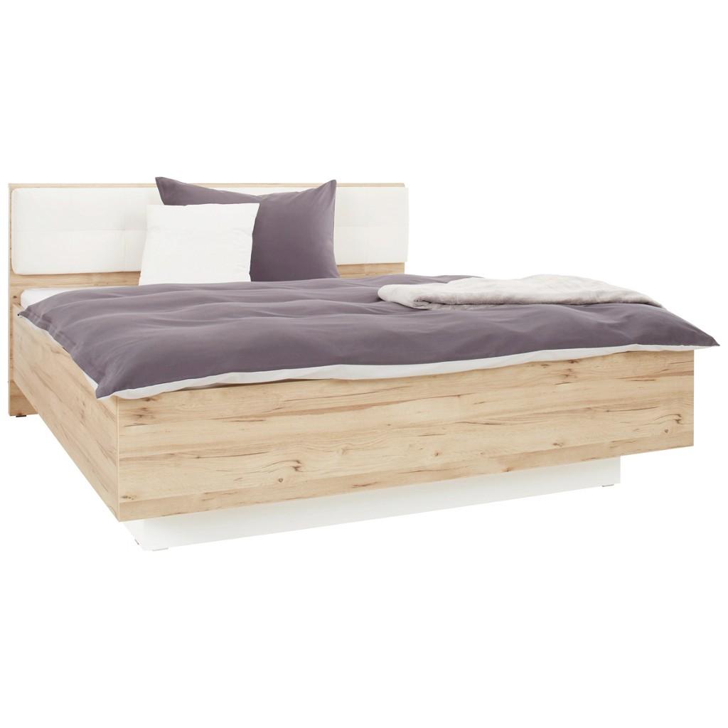 Bett in Weiß/Eiche ca. 180x200cm