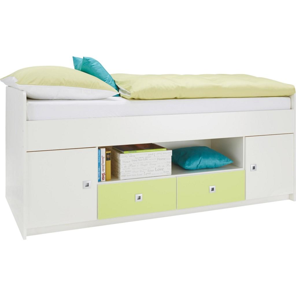 Bett in Weiß/Hellgrün ca. 90x200cm