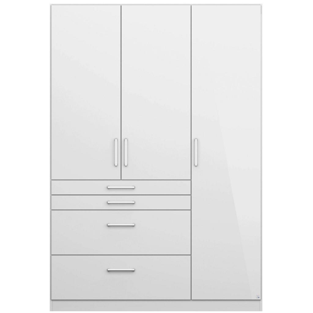 Drehtürenschrank in Weiß Hochglanz mit 3 Türen