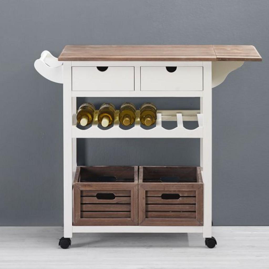 Küchenwagen in Weiß mit Holz Cookie