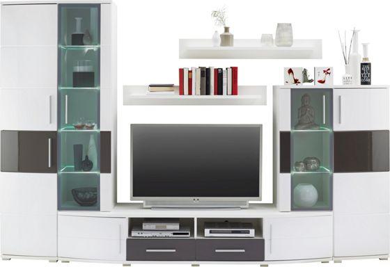 Wohnwand in Weiß Hochglanz - Wohnwände - Wohnwände & TV Möbel ...
